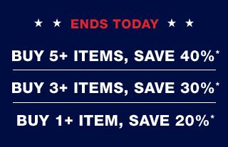 ENDS TODAY | BUY 5+ ITEMS, SAVE 40%* | BUY 3+ ITEMS, SAVE 30%* | BUY 1+ ITEMS, SAVE 20%* | Home | Gap